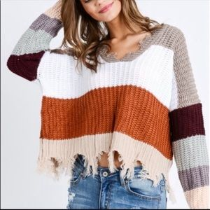 WeatherDistressed Color Block V-Neck Sweater BB318